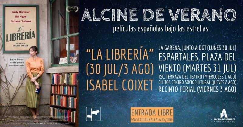 """""""La librería"""", 22 hr. 30 jul, La Garena (parque DGT) / 31 jul, Espartales (Pza. del Viento) / 1 ago, terraza TSC / 2 de ago, Gilitos / 3 de ago, Recinto ferial"""