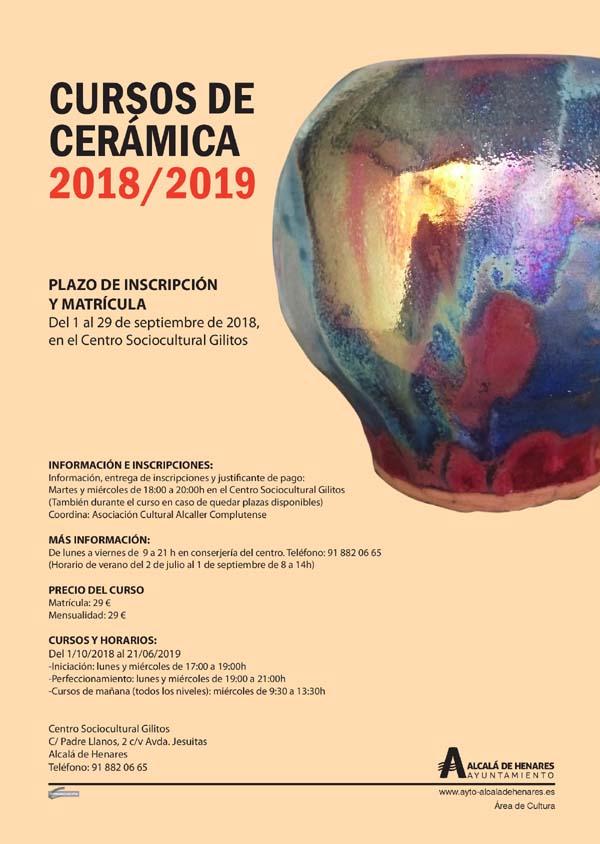 Cursos De Cerámica 2018 2019 En El Centro Sociocultural Gilitos Culturalcalá